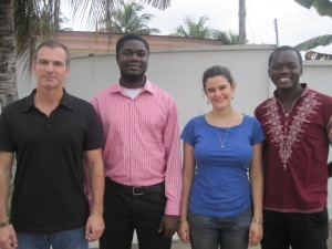 From the left is Wayne Anderson (Engineers Without Borders placement), Emmanuel Owusu Addai (Co-Founder/Tech Lead), Alexandra Sproule (Engineers Without Borders placement) and Alloysius Attah (Co-Founder/CEO).