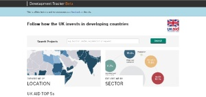A screenshot from the beta version of DFID's development tracker