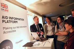 John Adams, Head of Business Innovation at DFID presenting their Aid Info Platform at Open-Up.