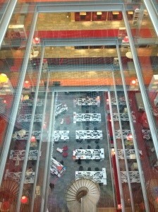 Looking down into the BBC News room from the seventh floor