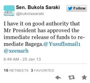 Tweet by Sen. Saraki